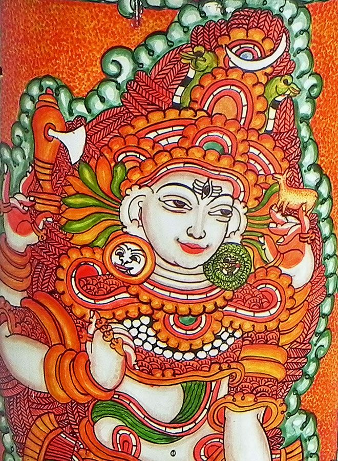 Lord shiva mural painting on bamboo 16 x 6 inches for Abstract mural painting