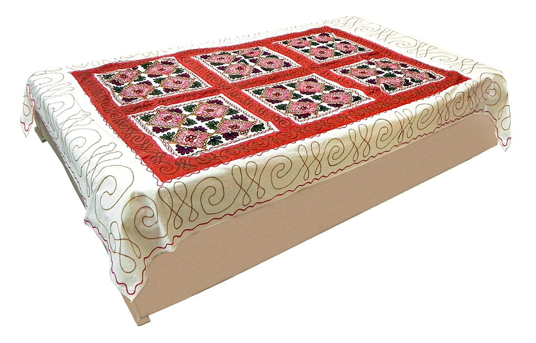 Gujrati Embroidery And Red Cloth Patch On Off White Cotton