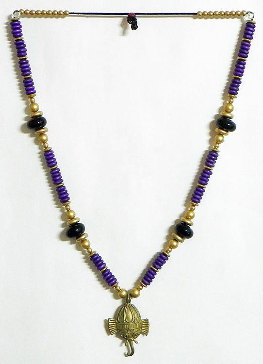 beaded tibetan necklace with dhokra ganesha pendant