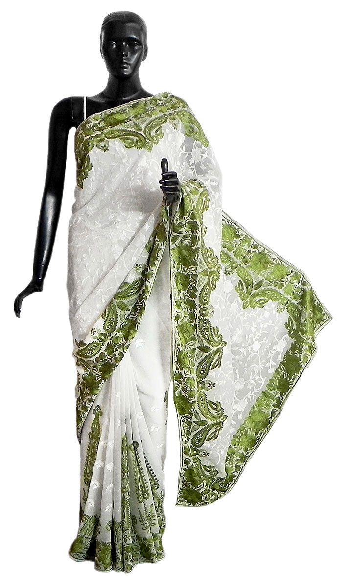 Parsi Embroidered White Brasso Saree With Green Border And
